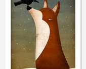 The Fox and the Crow winter GRAPHIC ART giclee print SIGNED by Ryan Fowler