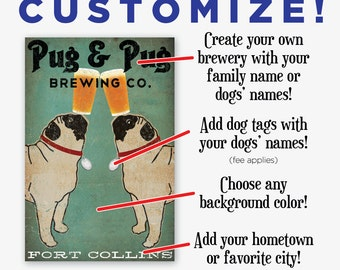 CUSTOM Pug & Pug Pug dog Brewing Company Beer Sign Gallery Wrapped Canvas Wall Art -  Ready-to-Hang