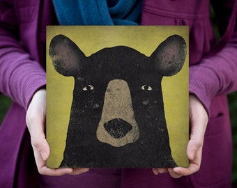 Ursus Americanus American Black Bear Graphic Illustration Stretched Canvas Wall Art signed