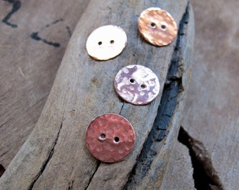 Copper Buttons 1/2 inch - Artisan Pewter Buttons - Hammered Metal 2 or 4 hole Buttons / Copper Discs / Metal Buttons / Round Charms