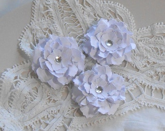 Handmade Paper Flowers Made to Order - Sweet and Shabby Wild Roses - White Set of 3 Embellishments for cards and scrapbooks