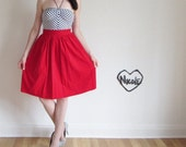 red velvet party skirt . high waist bright ruby red .extra small.xs .sale