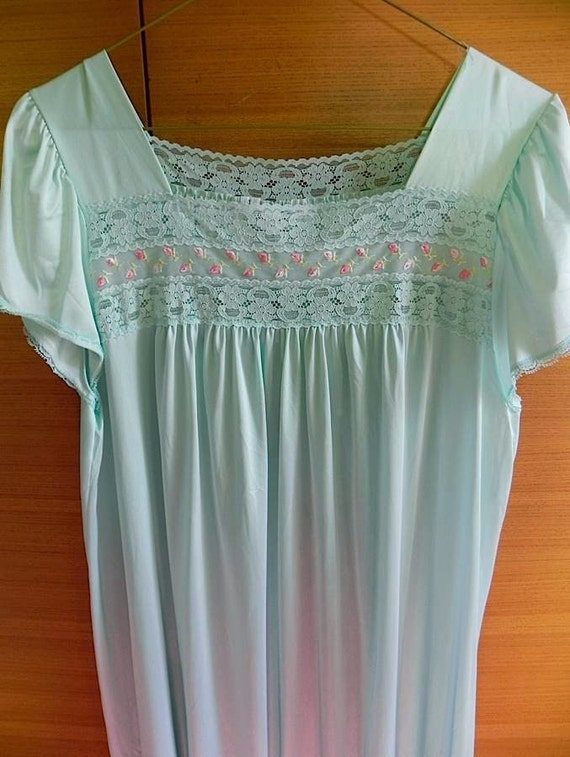 Aqua Vintage  60s Lingerie Night Dress with embroidered Rose Buds M L XL XXL -on sale-