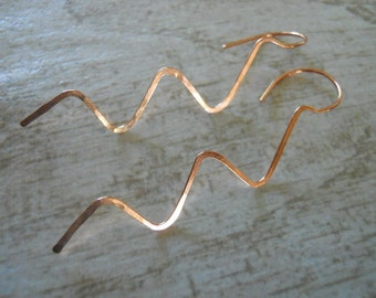 Copper Wave Earrings, Beaten Metal Earrings, Gift For Her, Gift under 20