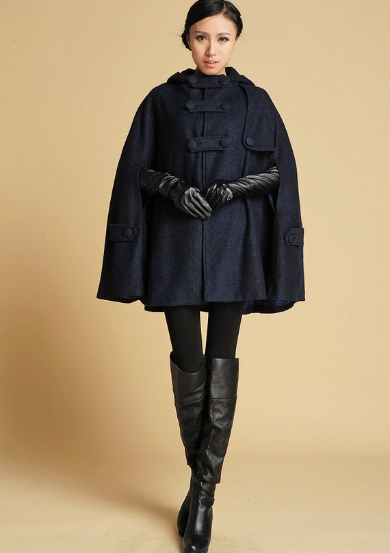 Cape coat Blue Wool Coat Navy Blue Cape wool coat women