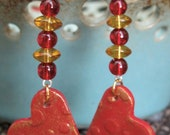 Polymer Clay Heart Shaped Textured Earrings With Gold Accents and Glass Beads