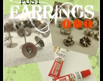 Titanium Post Earrings  KIT - Makes 10 pairs- Your Choice  - Hypoallergenic  - Made in the USA - includes Resin, Nuts and Posts