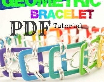 PDF Chainmail Tutorial - Geometric Bracelet - Beginner and Experienced - Basic Instructions