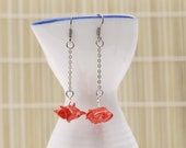 Origami earrings turtle in your choice of color on thin chain eco-friendly jewelry -MADE TO ORDER