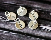 Sterling Silver Initial Charm Add On - Custom Hand Stamped Monogram Disc
