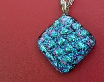 Fused Glass Dichroic Necklace in Blue Dichroic on Black, SRAJD