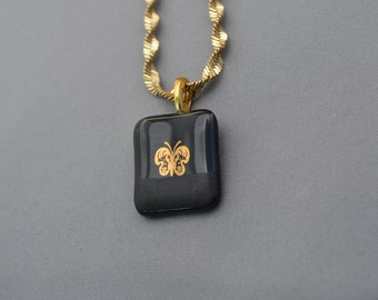 Fused Glass Necklace with 22 Karat Butterfly, Black Glass, SRAJD