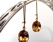 Vintage Light Colorado Topaz Earrings Oval Swarovski Crystal Retro Bridesmaids Wedding