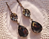 Black Diamond Earrings Smoke Grey Swarovski Bridal Bridesmaids