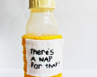 Funny baby bottle cozy yellow shower gift nap handmade crochet Kids Baby Feeding Nursing cover
