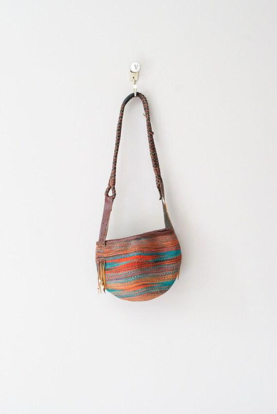 woven purse / vintage ethnic leather bag / Sunset Jute bag