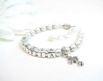 Baptism Bracelet / Christening Bracelet / Baby Name Bracelet / Baby Bracelet / Name Bracelet / Pearl Name Bracelet / Real Pearl Bracelet
