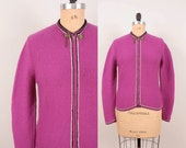 1960s Zip Up Ski Sweater / Bright Fuchsia Wool Cardigan - Womens L / XL - Hand Knit Garter Stitch Black White Zippered Jumper