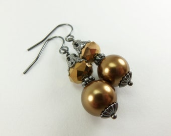 Dark Gold Beaded Dangle Earrings Dark Silver Gunmetal Earrings Victorian Style Dark Gold Jewelry