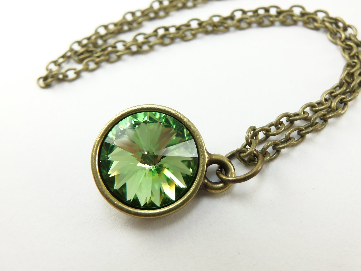 Peridot necklace august birthstone necklace green by jalycme