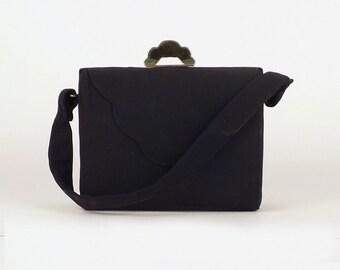 Vintage evening winter very cute purse, Taffeta fabric satin lining, Stylish black handbag purse hand bag, Taffeta tote bag, Stiff body