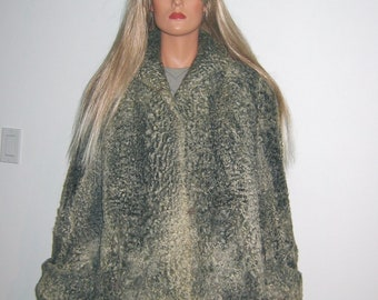 Vintage 1940's Persian Lamb FUR coat jacket. Silver grey curly lamb. Small