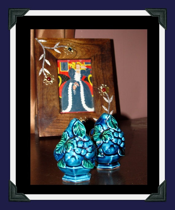 Indigo Blue salt and pepper shakers by Inarco, circa 1960's.