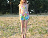 Vintage 80s does 50s Two Piece Swimsuit Bathingsuit . Bikini Top with Shorts . Colorful Cotton Fun . Womens Small Medium
