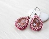 Pastel Pink Earrings, Drops, Beaded earrings, pink faceted teardrop glass, beadwoven bezel, seed bead jewelry, beadwork, sterling silver