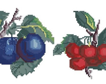 Fruits: plums and cherries antique pattern for Berlinwork or cross stitch