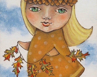 Acorn Girl original acrylic painting 5 x 7