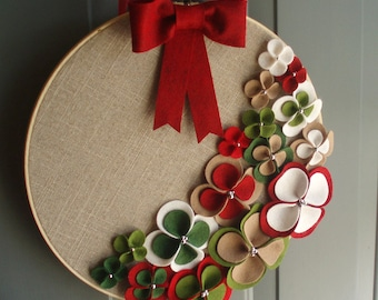 Linen Hoop Felt Handmade Door Decoration - 'Tis The Season 14in