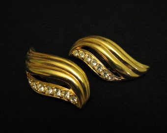 "BIG Vintage Avon 1993 ""Undeniable"" Gold Tone Diamond Rhinestone Wave Clip Earrings Billy Dee Williams Designed"