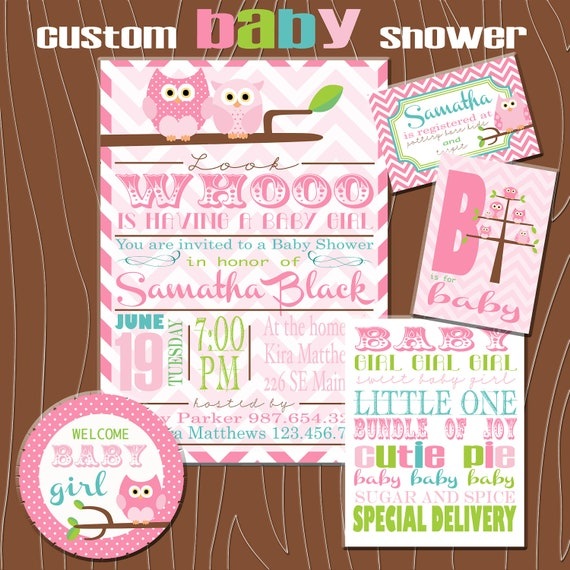 Owl Baby Shower Printable Kit, Custom