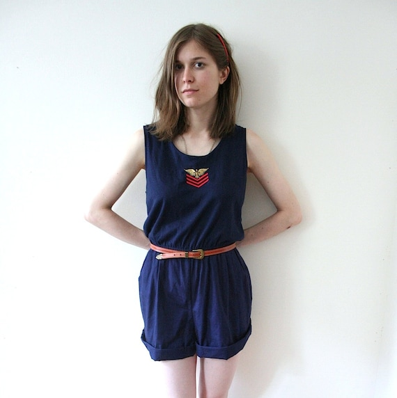 SUMMER SALE Vintage 80s In the Navy Sailor Romper