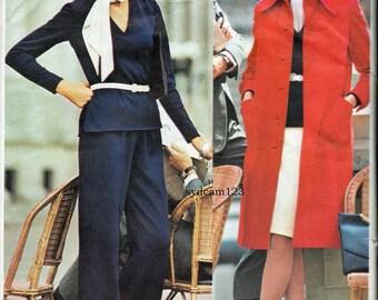 Vintage 1970s Bill Blass Coat..Low V Neck Blouse..Skirt & Wide Leg Pants...Vogue 1014 Bust 34 UNCUT
