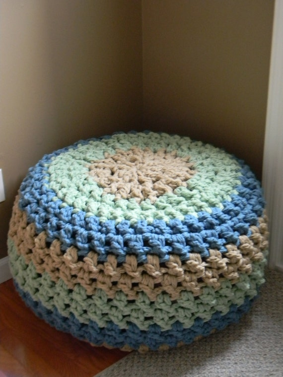 Crochet Bean Bag Tutorial : The Lucky Hanks Signature Crochet Pouf pattern Pattern Only