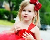 Red Hair Bow, Satin Rosette Hair Bow w/ Crystal Center Headband or Hair Clip, The Virginia, Christmas Hair Bow, Baby Child Girls Headband