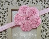 Pink Flower Headband - Posh Pink Beaded Satin Swirl Flower Headband or Hair Clip - Baby Toddler Child Girls Headband