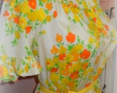 Vintage XL Sized 1950s 1960s Yellow Cheery Button Front House Dress - Lounge Dress