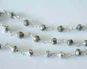 1 Foot, hand cut Pyrite Gemstones with Sterling Silver Wire Chain
