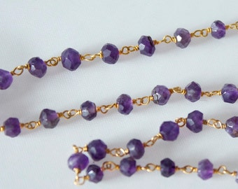 SALE Faceted Amethyst with Gold Plated Wire Chain, hand cut and wired continious chain by the foot