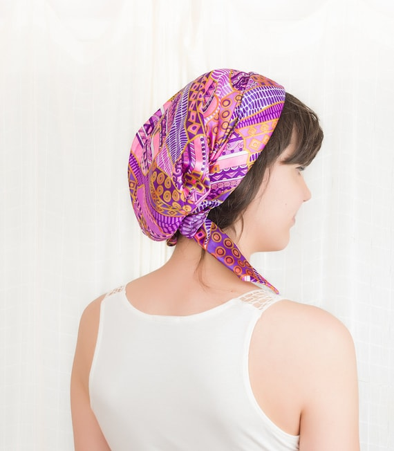 1960s Head Scarf - 60s Head Wrap / Hat - Pink Purple and Gold