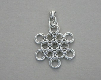 Chainmaille pendant sterling silver Japanese flower snowflake