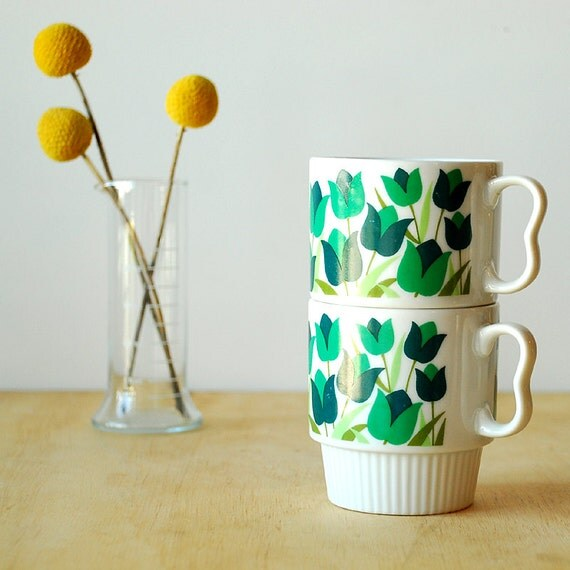 Vintage Floral Mugs - Green Tulips and Leaves