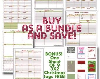Christmas Planner / PRINTABLE PDF / 7 Forms / BONUS One sheet of christmas tags
