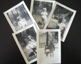Children in the Winter Collection of 5 Vintage Photos Paper Ephemera