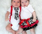 Boy and Girl Twins - Red Girls Ruffle Onesie Dress and Boys Suspender and Tie (short or long sleeve)