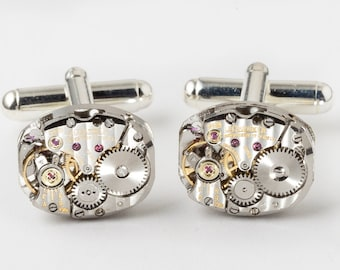 Rare Vintage Genuine LeCoultre Watch Cufflinks Ideal Wedding or Anniversary Gift Grooms Formal Wear Silver Mens Cuff Links Steampunk Jewelry