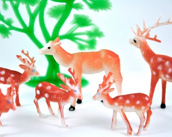 Reindeer With Tree Christmas Cake Topper 7 Piece Set